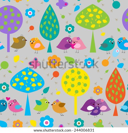 Seamless pattern with a cute colorful birds - stock vector