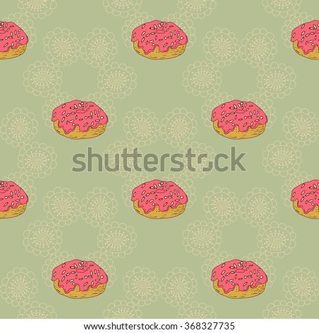 seamless pattern with a donut with pink cream - stock vector