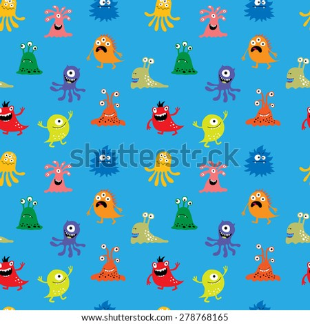Seamless pattern with a funny monsters - stock vector