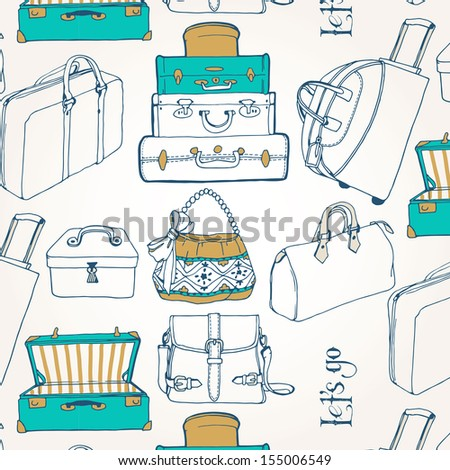 Seamless pattern with a lot of bags and suitcases. Let's go see the world. Travel.