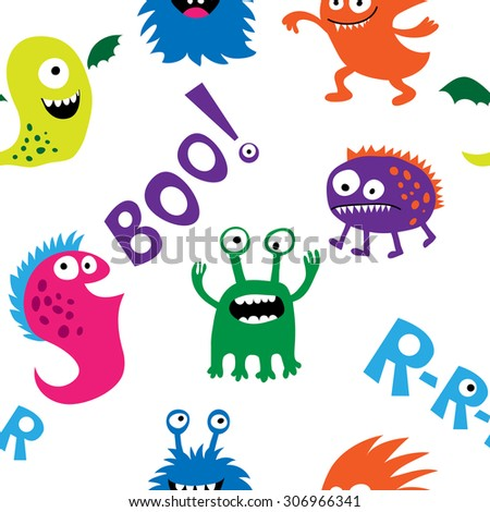 Seamless pattern with a monsters and inscriptions - stock vector