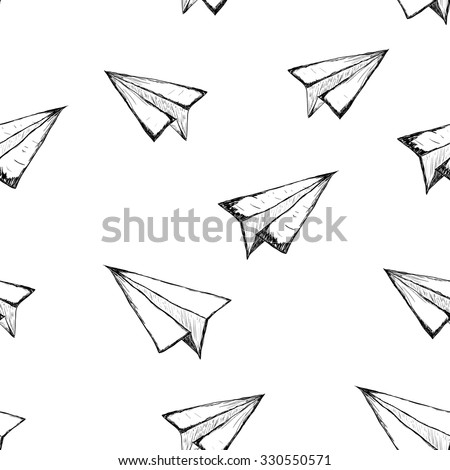 Seamless pattern with a paper airplane on a white background . Drawing by hand . Line drawing. Doodle - stock vector