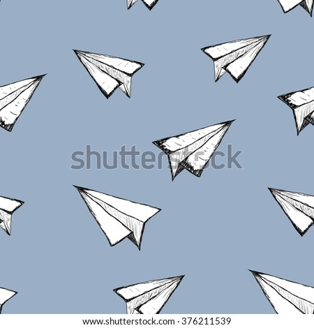 Seamless pattern with a paper airplane on a white background . Drawing by hand . Line drawing. Doodle vector illustration - stock vector