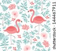 seamless pattern with a pink flamingo - stock vector