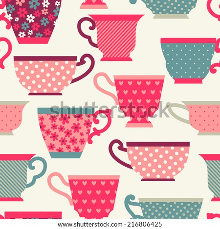 Seamless pattern with a teacup. Tea party. - stock vector