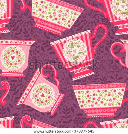Seamless pattern with a teacup. Tea party - stock vector