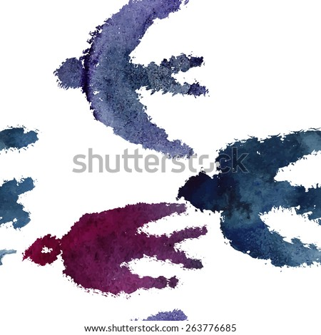 Seamless pattern with a watercolor swallows and ink blots. Beautiful stain and texture of a paper. - stock vector