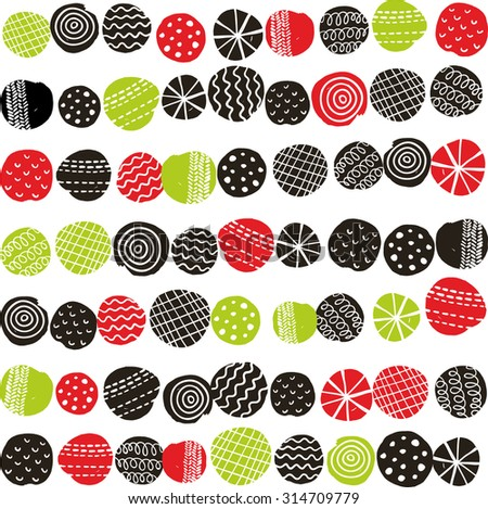 Seamless pattern with abstract berries. Vector repeated background in scandinavian stile. - stock vector