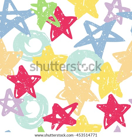 Seamless pattern with abstract brush stroke urban element star, circle, line. Wallpaper for boy and girl.