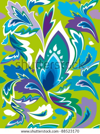 seamless pattern with abstract color leaf - stock vector