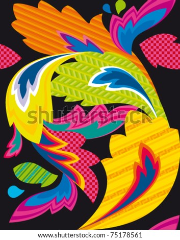 seamless pattern with abstract color leaf in japan style - stock vector