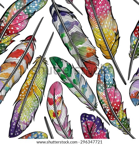 Seamless pattern with abstract colorful feathers. Vector, EPS10. - stock vector