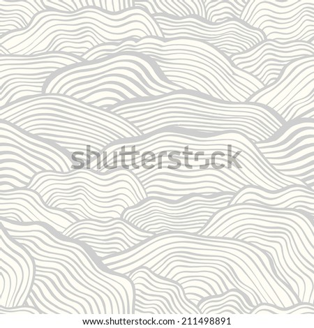 Seamless pattern with abstract doodle wavy scale texture. Doodle background. Vector illustration