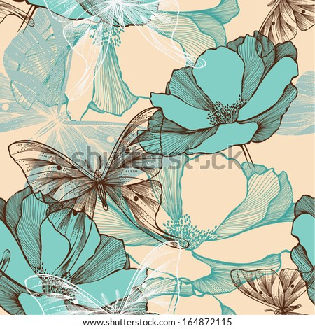 Seamless pattern with abstract flowers and decorative butterflies, hand-drawing. - stock vector
