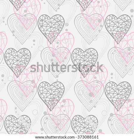Seamless pattern with abstract hearts for web page site.Happy Valentines Day.Holiday background or site web page, woman blog