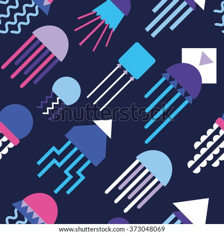 Seamless pattern with abstract jellyfishes 3 - stock vector