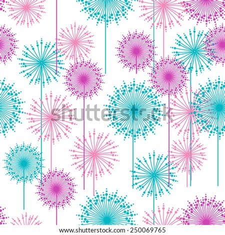 Seamless pattern with abstract pink and blue dehlia flowers. Vector illustration. - stock vector
