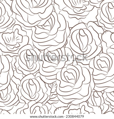 Seamless pattern with abstract rose flowers. Vector illustration. - stock vector