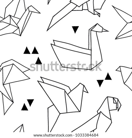 Seamless Pattern Abstract Shapes Origami Birds Stock Vector HD ...
