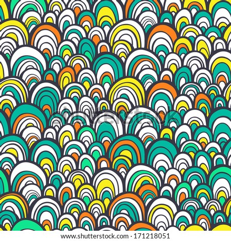 Seamless pattern with abstract stylized hand drawn scale texture. Colorful bright background. Vector illustration - stock vector