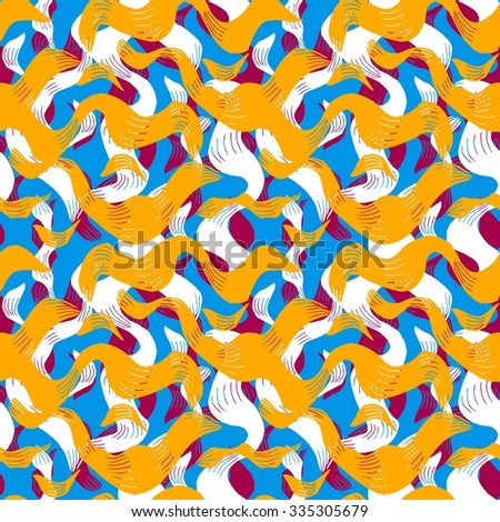 seamless pattern with abstract waves of different shapes - stock vector