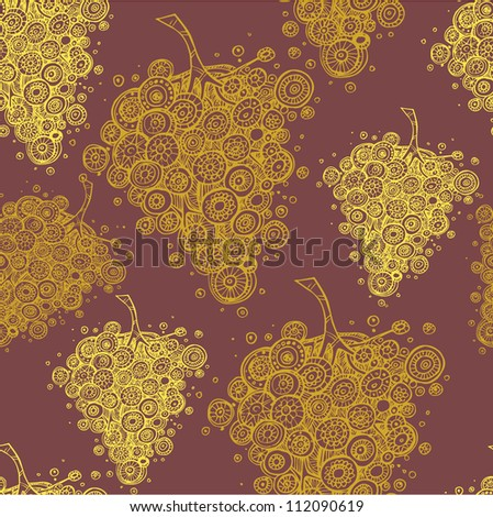 Seamless pattern with abstraction grape leaves - stock vector