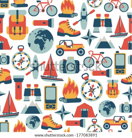 seamless pattern with adventure travel icons - stock vector