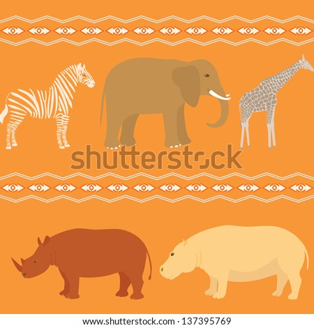 Seamless pattern with african animals - stock vector