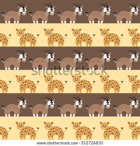 Seamless pattern with african animals,oryx and leopard. Vector illustration. - stock vector