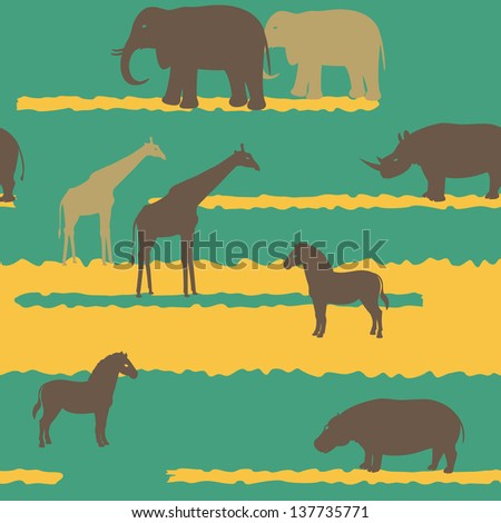 Seamless pattern with african animals silhouettes - stock vector