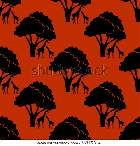 Seamless pattern with african background on evening savanna  - stock vector
