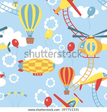 Seamless pattern with air transport with dirigible, balloon, helicopter, plane. Colorful background for the children - stock vector