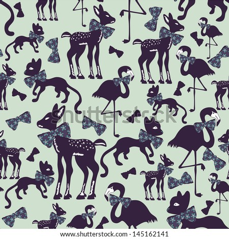 Seamless pattern with animal silhouettes - stock vector