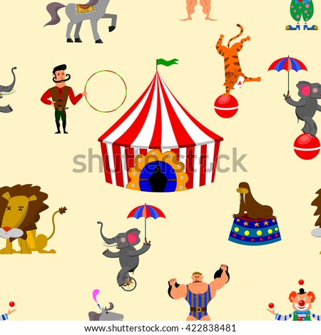 Seamless pattern with animals and circus artist . Design element in vector.