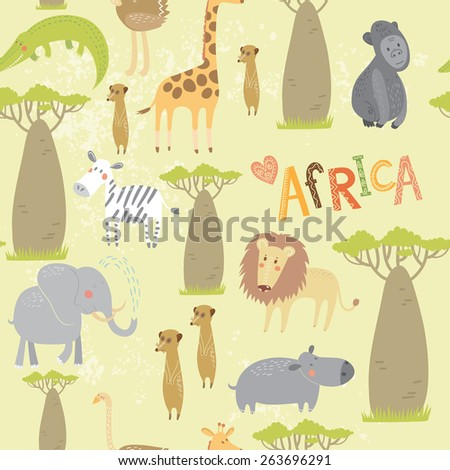 Seamless pattern with animals of Africa: elephant, zebra, lion, hippo, ostrich, meerkats, giraffe, crocodile. Vector background. - stock vector