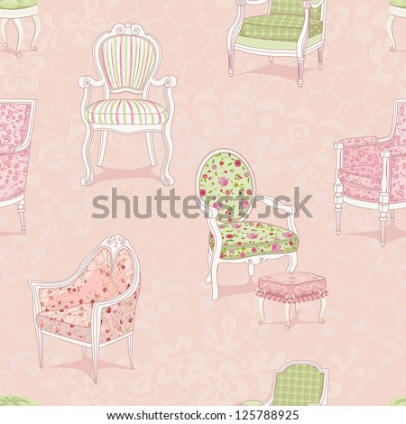 Seamless pattern with antique armchairs - stock vector