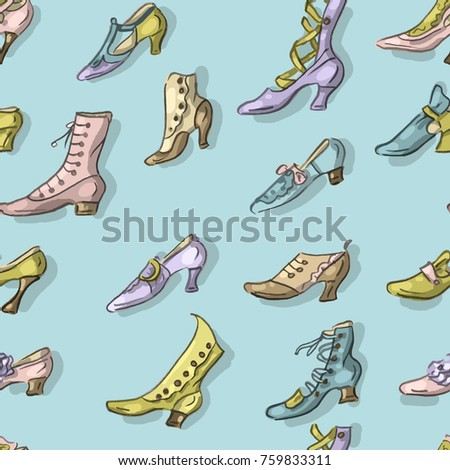 Seamless pattern with antique vintage shoes