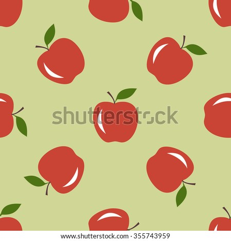 Seamless pattern with apples motif can be used in textiles, for book design, website background - stock vector