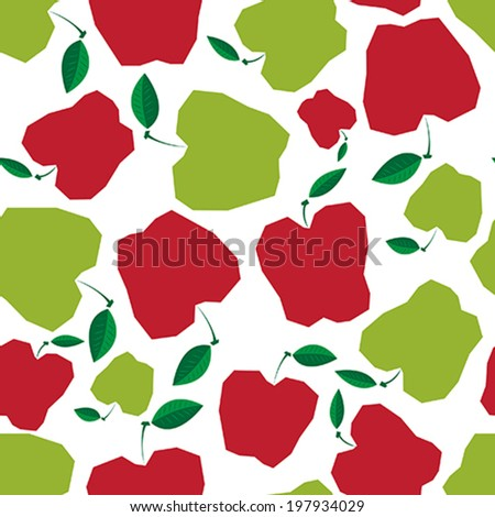 Seamless pattern with apples on the white background. Vector illustration.