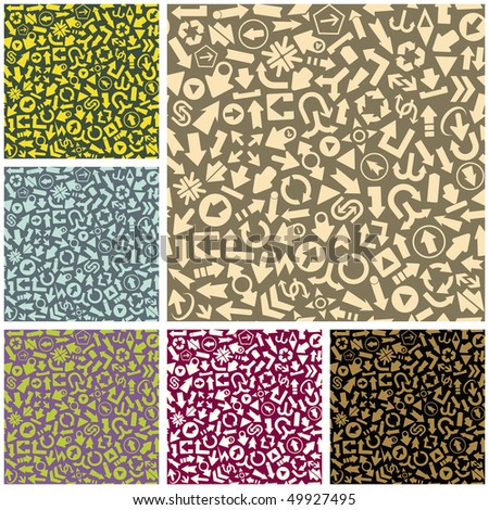 Seamless pattern with arrow signs. Vector set. - stock vector