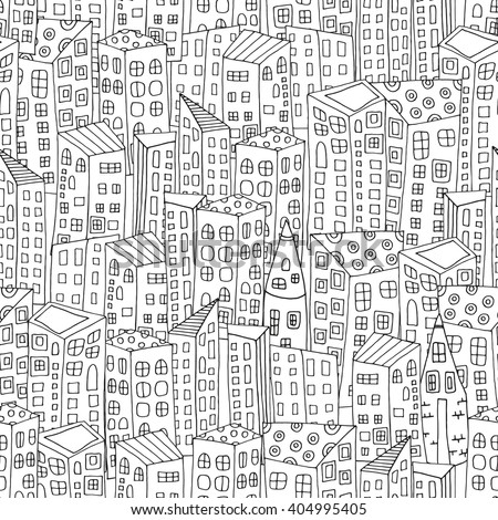 Seamless pattern with artistically city houses. Magic City. Street background. Pattern for coloring book. Black and white pattern in vector. - stock vector