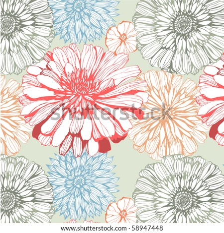seamless pattern with asters - stock vector