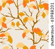 seamless pattern with autumn ginkgo leaves - stock vector