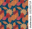 Seamless pattern with autumn leaves and lines of rain - stock vector