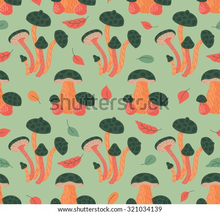 Seamless Pattern With Autumn Leaves And Mushrooms - stock vector