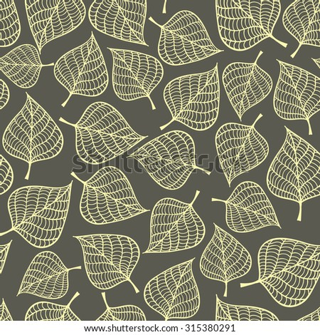 Seamless pattern with autumn leaves fall. Endless vector background in vintage colors. - stock vector