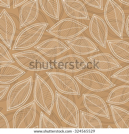 seamless pattern with autumn leaves on brown background. vector illustration