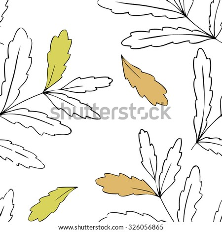 Seamless pattern with autumn leaves on white background