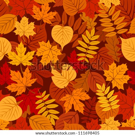 Seamless pattern with autumn leaves. Vector EPS 8. - stock vector