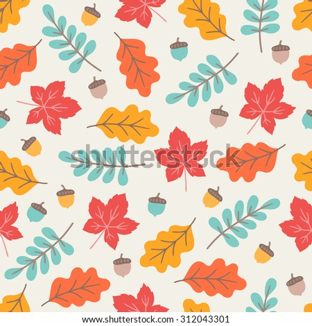 Seamless pattern with autumn maple and oak leaves, branches  and acorns. Perfect for wallpapers, wrapping papers, pattern fills, textile, autumn greeting cards, Thanksgiving Day cards - stock vector